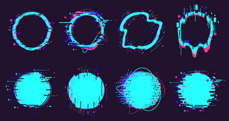 Glitch round frames. Circle distortion noise defect elements, pixel defect destroyed geometric shapes isolated vector illustration set. Dynamic damaged neon border or figure on dark Vettoriali
