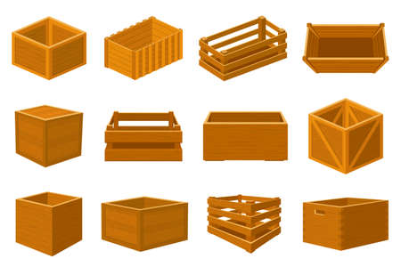 Wooden boxes. Delivery containers, empty wood boxes and parcels, packed shipping crates isolated vector illustration set. Cargo distribution packs for food and products transportation