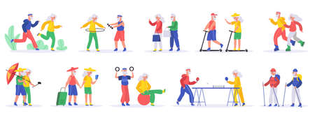 Active elderly people. Senior elderly couples, grandfather and grandmother exercising and travelling, healthy old people vector illustration set. Aged people playing table tennis, riding scooters