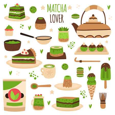 Matcha products. Japanese matcha powder preparation tools, matcha delicious sweets, pastry, ice cream and beverages vector illustration set. Green desserts as piece of pie, cupcake