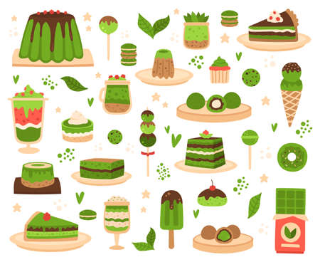 Matcha desserts. Japanese matcha powder products, mochi, ice cream, cake, macarons and pudding, matcha sweets and pastry vector illustration set. Green bakery as pie, bar of chocolate