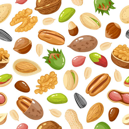 Seeds and nuts pattern. Nut, grain and seed seamless pattern, hazelnut, nut food pistachio and sunflower seed vector background illustration. Healthy food for dieting, organic snack