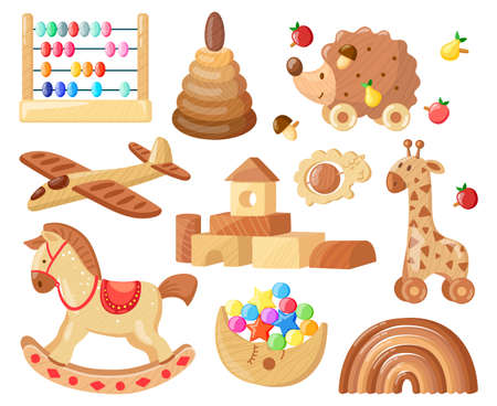 Cartoon wooden toys. Kids vintage wooden toys for child games and entertainment, wooden plane, horse and bricks isolated vector illustration set. Educational tools, rainbow and aircraft