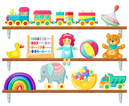 Kids toys on shelves. Baby toys on wooden shelf, ball, plush bear and doll, elements for child games and joy isolated vector illustration. Childhood, room for children with rubber duck, car Illustration