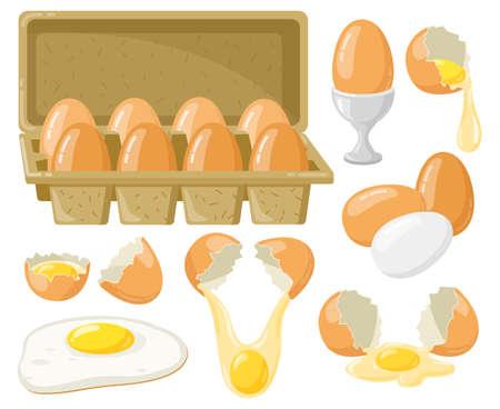 Cartoon chicken eggs. Fresh, boiled, fried eggs, broken eggs, half egg with yolk, eggs in cardboard box. Organic farm food vector illustration set. Open paper package, cooking meal 向量圖像