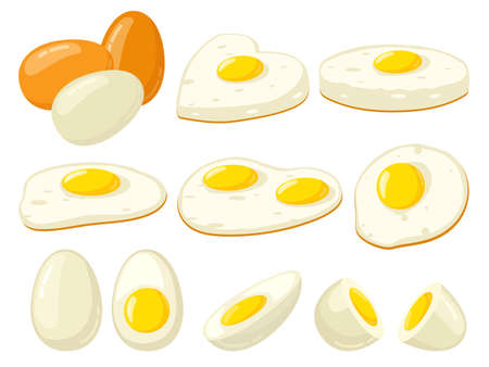 Cartoon cooked eggs. Fried, hard, soft boiled, sliced eggs with yolk, protein breakfast ingredient. Organic farm product vector illustration set. Egg halves, prepared meal in heart shape 向量圖像