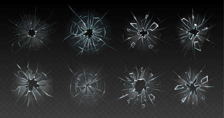 Realistic cracked glass. Broken smashed, damaged texture, crash destruction ice, clear glass surface, crack bullet hole vector illustration set. Shattered window with small pieces or chips