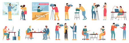 Media TV journalists. Talk show hosts, news presenters and broadcast journalist, television industry videographers crew vector illustration set. Weather forecast and breaking news hosts Vettoriali