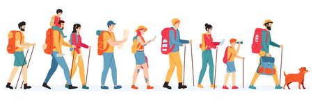 Travelling hikers. Outdoor active hikers, walking young men and women with backpacks, tourists people in trekking tour vector illustration set. Characters with map, gadget, binoculars