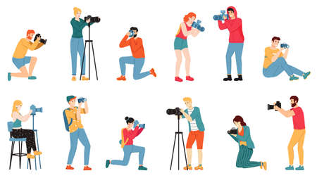 Photographer characters. Paparazzi, cameraman creative people take photo shot, reporters and journalists characters vector illustration set. Man and woman taking pictures from different angles