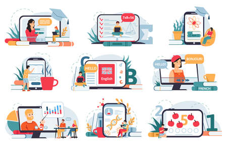 Online home education. Distance education, digital classroom, students learning online at home with smartphone or laptop vector illustration set. Girls and boys having French, English and Science 向量圖像