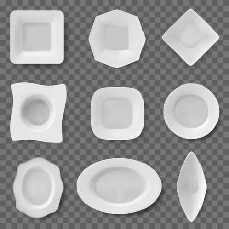 Realistic food dish. Plate dish, ceramic tableware, restaurant and household kitchenware, dishes and bowls. White food plates vector illustrations. Empty dishware of different shapes for meals