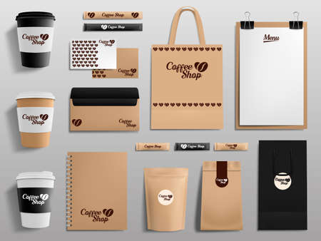 Realistic coffee shop mockups. Cafe, restaurant corporate identity, cup, envelope, menu and package templates vector illustration set. Branding, isolated shopping bags, sugar and notebook