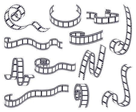 Curved film strip. Cinema monochrome movie or photo tape, strip roll border fragments. Vintage curved filmstrip isolated vector illustrations. Frames of different shapes with empty space