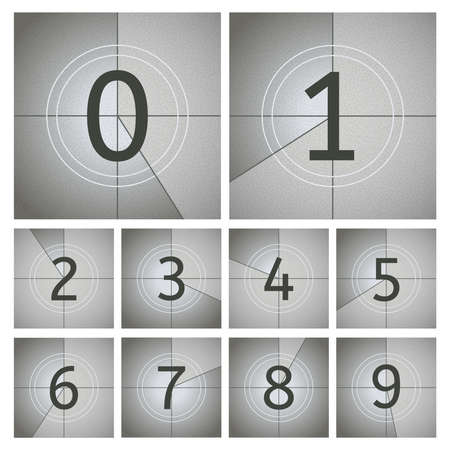 Movie count timer. Vintage cinema countdown frames, old movie timer frames from to 9 numbers. Movie intro counting vector illustration set. Film retro projector, television screen