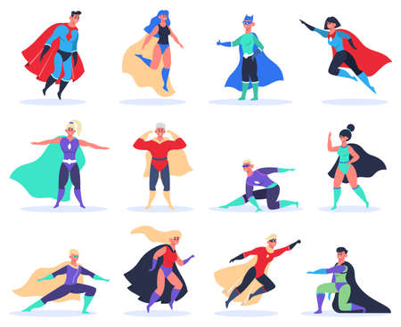 Female and male superheroes. Powerful superhero characters with cloak vector illustration set. People in capes with super power