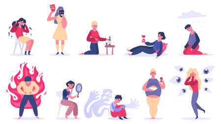 Mental disorders. Psychiatric illness, depression, bipolar disorder and phobias. Men and women psychological problems isolated vector illustration. People having emotional trauma, stress, fear Vector Illustration