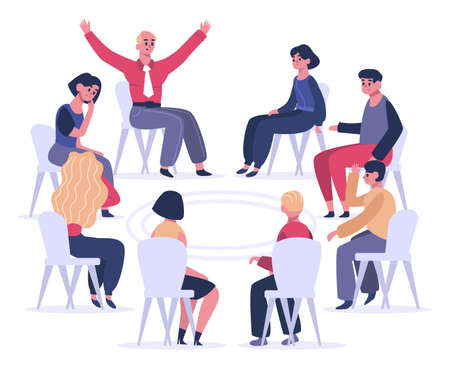 Group therapy. Psychotherapist sessions, psychologist meeting or psychological group aid, men and women on group therapy vector illustration. People sitting on chairs in circle and talking