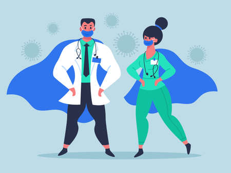 Doctor superheroes. Super doctor characters in medical masks and waving cloaks, female and male doctors heroes isolated vector illustration. People fighting pandemic, providing healthcare
