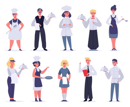 Kitchen workers. Restaurant staff characters, chef, assistants, hostess and waiter, kitchen workers cooking and serving, vector illustration set. Female and male employees in uniform