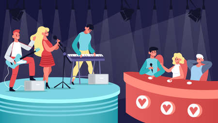 Talents music show. Vocal, musical TV competition, audition contest performing and jury judge. Singing talent show vector illustration. Musicians playing guitar and keyboard on stage