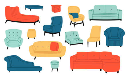 Armchairs and couches. Modern comfortable soft furniture, couch, sofa, stool and chair. Living room interior decoration vector illustration set. Minimalistic furnishing with pillows or cushions