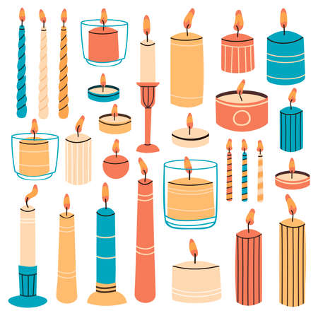 Burning candles. Wax aromatic candles in candlesticks, holders and glass. Cute hand drawn hygge interior decorations vector illustration set. Holiday decorative design element for aroma therapy Vettoriali