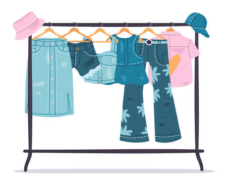 Denim clothing. Jeans garments hanging on hanger, trendy casual cotton apparel. Stylish denim wardrobe vector symbols set. Trendy, blue skirt and shorts, blouse, trousers and shirt