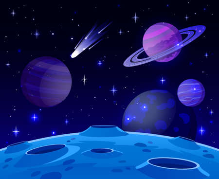 Cartoon space landscape. Cosmic planet surface, futuristic celestial bodies landscape, galaxy stars and comets view vector background illustration. Lifeless land with craters at night