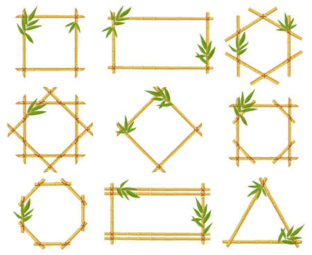 Bamboo cartoon frames. Steam frame, bamboo stalks with leaves, asian bamboo sticks wooden borders vector illustration icons set. Frames of different shape tied with ropes as square, rectangle
