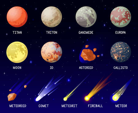 Cartoon planets. Solar system planets, galaxy cosmic space celestial bodies, planets satellites, moon, comet and meteorite vector illustration set. Outer space elements exploration