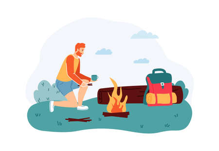 Man sitting near campfire and drinking cup of tea near log. Male tourist or hiker with backpack on summer adventure trip. Outdoor leisure activity, traveling cartoon vector illustration