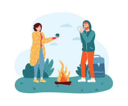 Woman and man travelers standing near campfire. Girl in blanket giving hot drink to boy for warming up. Traveling, hiking concept. Vacation trip, active lifestyle and recreation vector illustration