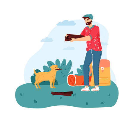 Man camping, holding firewood for campfire. Bearded boy with dog stops to make bonfire with logs. Male character trekking, having summer trip on nature, relaxation vector illustration Ilustração