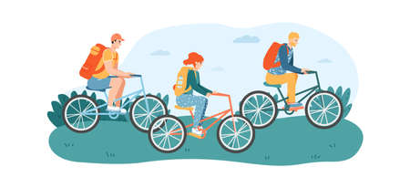 Woman and men friends riding bicycles in park or lawn. Female and male characters having cycling activity on nature. People traveling on bikes, having touristic trip vector illustration Ilustração