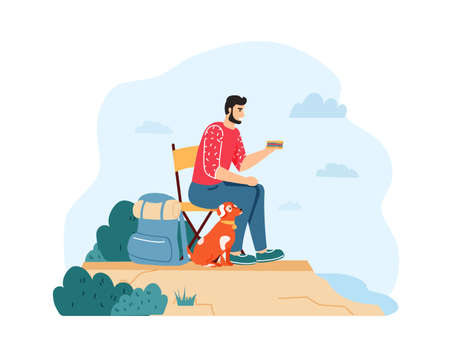 Man with dog hiking and having summer trip. Guy sitting on chair and eating sandwich near backpack on cliff with pet. Traveling activity, leisure time, having journey on nature vector illustration
