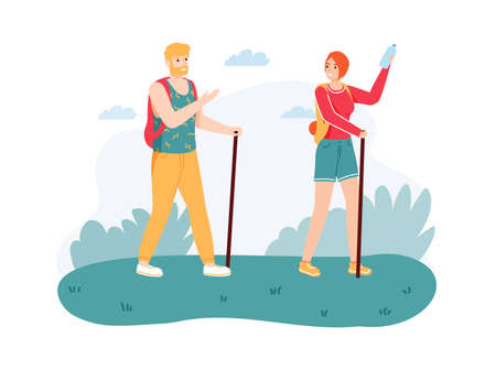 Couple hiking on nature with walking sticks. Man and woman with equipment and backpacks having journey. Travelers having adventure together. Summer activity cartoon vector illustration