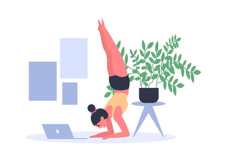 Woman practicing yoga at home with laptop on floor. Young girl doing sport exercises in sportswear and working. Female person having pilates. Headstand, salamba sirsasana position vector illustration 矢量图像