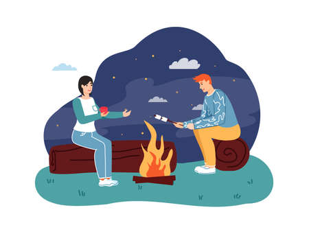 Couple sitting at campfire, drinking hot tea and roasting marshmallow on stick at night. People traveling or hiking on nature. Young man and woman sitting on log vector illustration