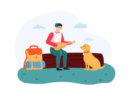 Boy sitting on log and playing guitar, dog sitting near hiker. Guy having summer trip, leisure activity outside on nature. Man with backpack traveling with pet cartoon vector illustration