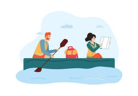 Woman and man traveling on boat. Guy holding paddle and rowing, girl looking at map and searching direction. Couple having summer trip, active lifestyle and recreation vector illustration