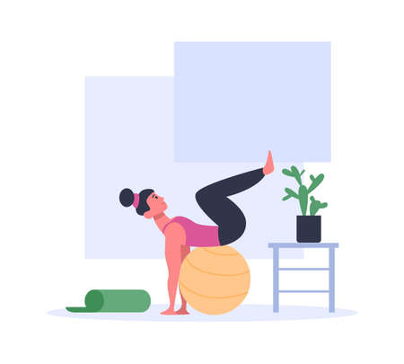 Woman doing exercises with ball wearing sport clothing. Active girl having workout or training. Fitness for healthy lifestyle. Pilates at home, keeping fit, losing weight vector illustration