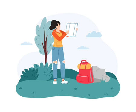 Woman traveler exploring map outside. Female hiker searching direction near backpack on nature. Summer adventure trip. Tourist spending leisure time actively flat vector illustration Ilustração