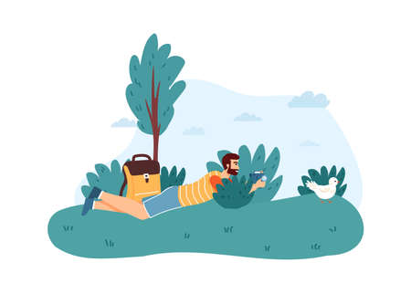 Man photographer lying in bushes and taking photo of bird. Male character holding camera and making picture, doing photo hunting in wild nature, traveling concept vector illustration Ilustração