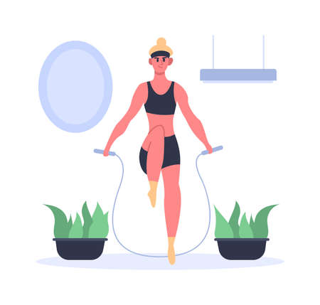 Fit girl doing exercises with jumping rope at home. Girl having fitness training in sportswear, leading healthy active lifestyle and losing weight. Athletic character vector illustration 矢量图像