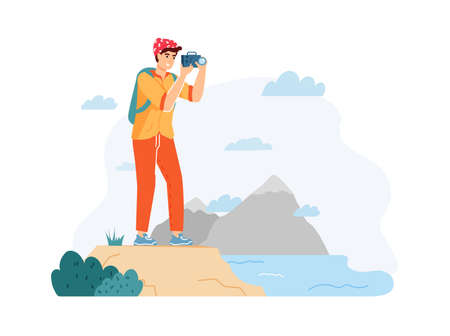 Man hiker taking photo of nature landscape. Guy traveler with backpack holding camera and shooting beautiful water view. Trekking, active lifestyle flat cartoon vector illustration Ilustração