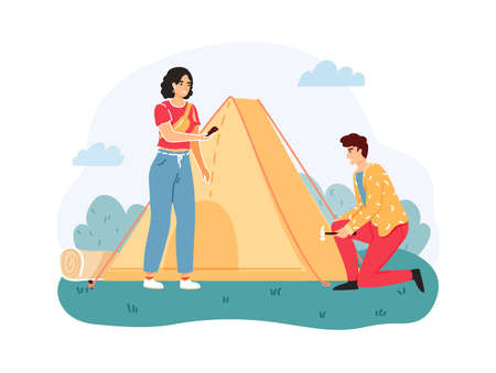 Man and woman set up or pitch tent on nature. Outdoor extreme leisure. Couple spending time actively in wildlife. Summer adventure and camping. Tourists having vacation vector illustration