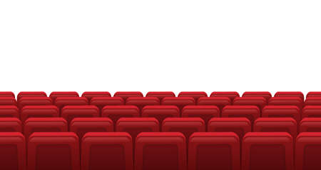 Movie theatre red seats. Empty rows of red cinema theatre seats, movie theatre interior. Cinema movie premiere event vector illustration. Hall for watching films or plays with armchairs