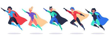 Superheroes women. Wonder female characters, super girls in superhero waving cloak costume, powerful woman superhero vector illustration set. Flying beautiful heroes wearing mask and cape