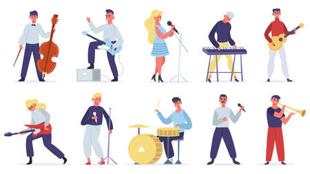 Musicians characters. Guitarist, singer, drummer and singer artist, metal and jazz artistic performers. Vocal singers people vector illustrations. Female and male musicians playing musical instruments 矢量图像